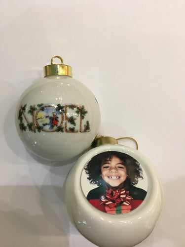 Half Round ceramic NOEL ornament