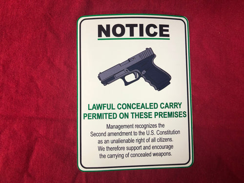 carry conceal notice sticker