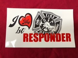 Copy of I Love My First Responder Fire Sticker