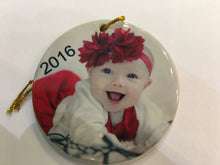 Load image into Gallery viewer, 2 sided Flat Round ceramic ornament