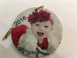 2 sided Flat Round ceramic ornament