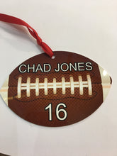 Load image into Gallery viewer, 2 sided aluminum Football ornament