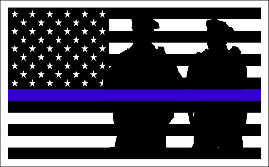 Thin Blue Line with silhouettes sticker