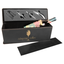Load image into Gallery viewer, ENGRAVED WINE BOX AND TOOL SET IN BLACK WITH GOLD ENGRAVING