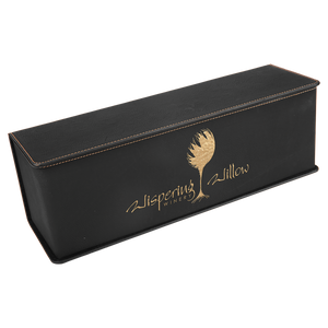 ENGRAVED WINE BOX AND TOOL SET IN BLACK WITH GOLD ENGRAVING