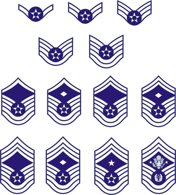 Air Force Enlisted Rank Insignia stickers