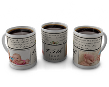 Load image into Gallery viewer, Birth Announcement Coffee mug Design 81