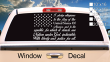 Load image into Gallery viewer, American Flag Pledge of Allegiance Vinyl Truck Window Sticker Decal