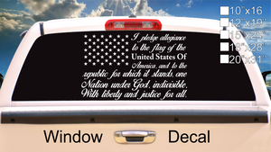 American Flag Pledge of Allegiance Vinyl Truck Window Sticker Decal