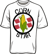 Load image into Gallery viewer, Do you love to play cornhole, bean bags, bags or what ever you like to call it, we just call it fun nothing is better than a nice sunny day have a few beverages and playing some bags with the buddies. now play in style with this beautiful CORN STAR T shirt   Grey and White 100% ring spun polyester feels just like cotton. great moister wicking property's   Black 100% cotton