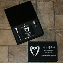Load image into Gallery viewer, ENGRAVED GIFTS FLASK SET IN BLACK/SILVER LEATHERETTE