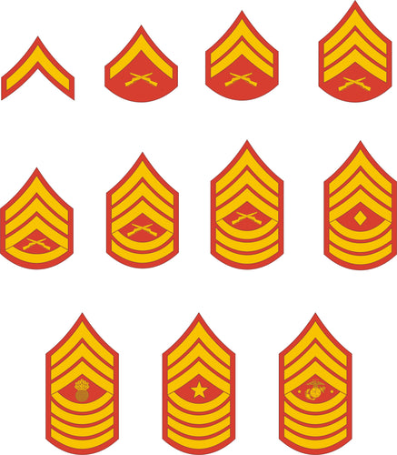 Marine Corps Enlisted Rank Insignia stickers