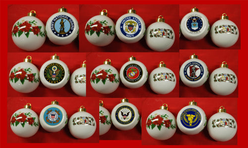 Half Round Ceramic Ornament Noel or Poinsettia ANG, USMC, Navy, Reserve, Minnesota, Air Force, Army Coast Guard