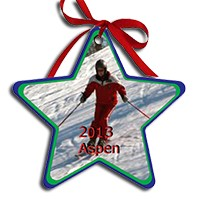 Load image into Gallery viewer, 2 sided aluminum Star ornament