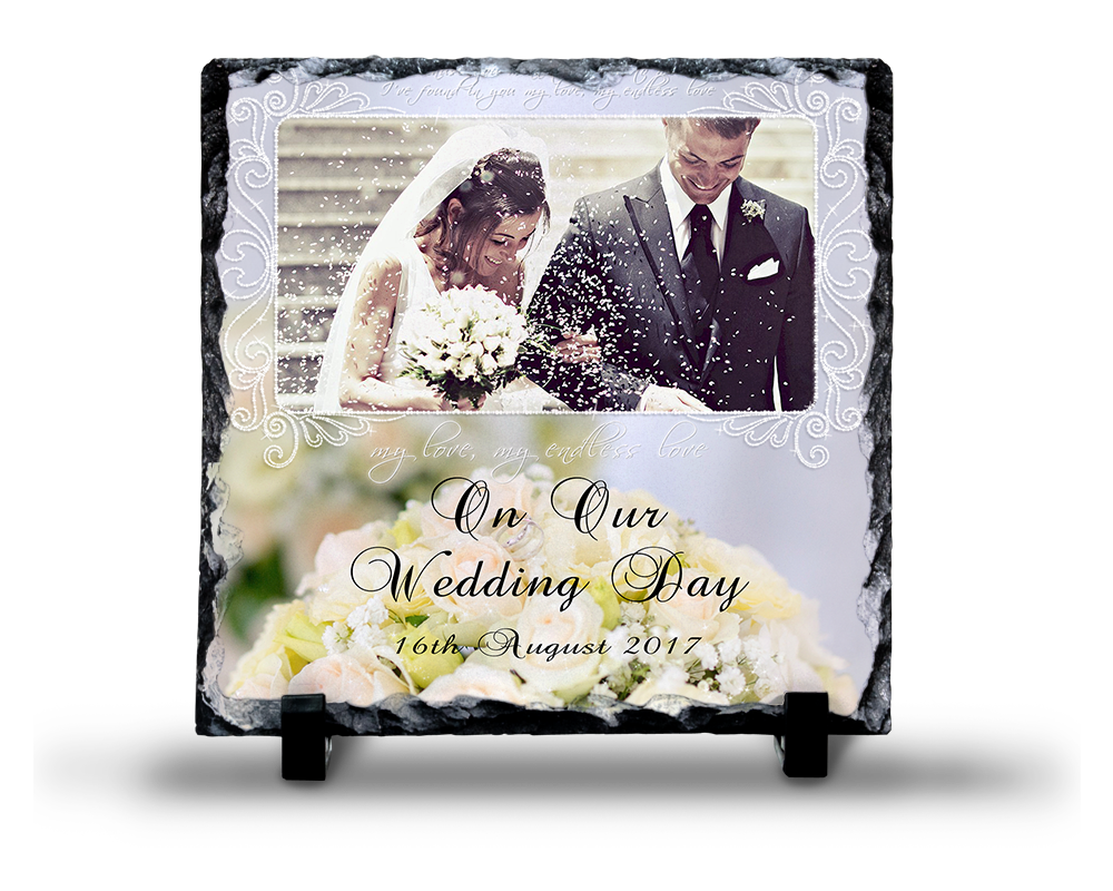 Wedding Photo Slate Square Design 8