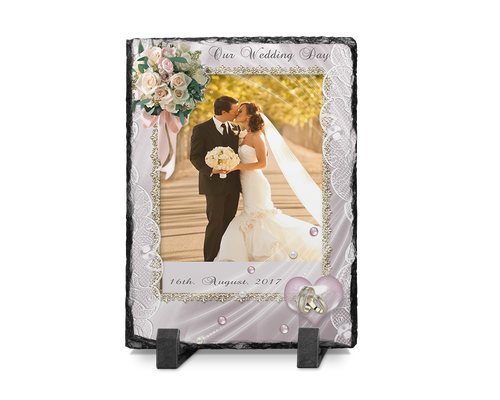 Wedding Photo Slate Rectangle Design 7