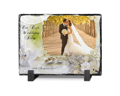 Wedding photo slate rectangle Design 1