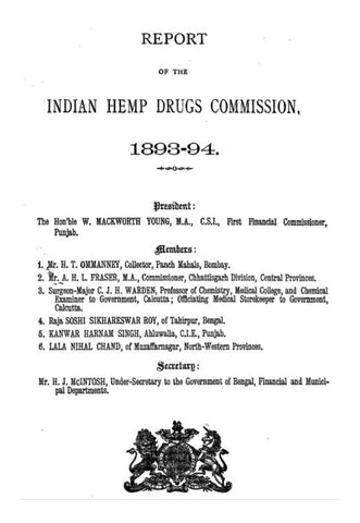 Indian Hemp Drugs Commission Report 1893-1894