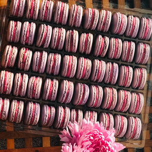 tray of 50 black currant macarons