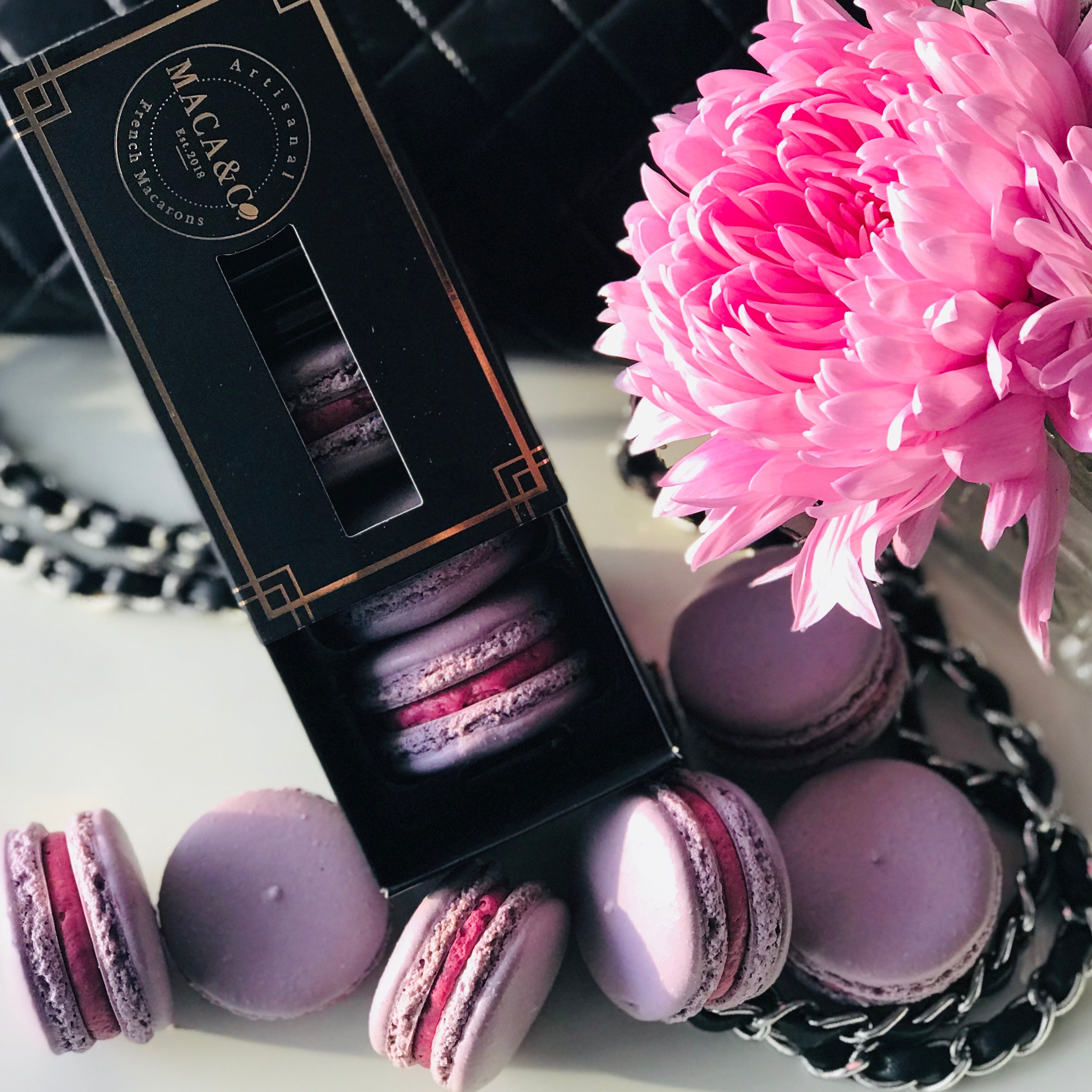 trio box black currant macarons