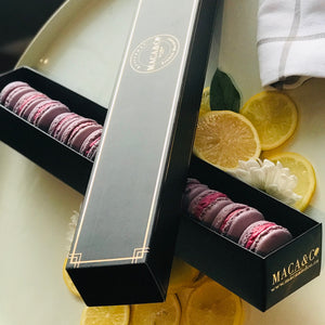 one dozen black currant macarons