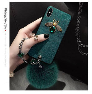 2019 New Fashion soft fox hair Ball case with flower strap for iPhone