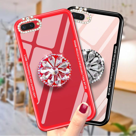 2018 newest mirror flash diamond airbag bracket mobile phone case for iphone