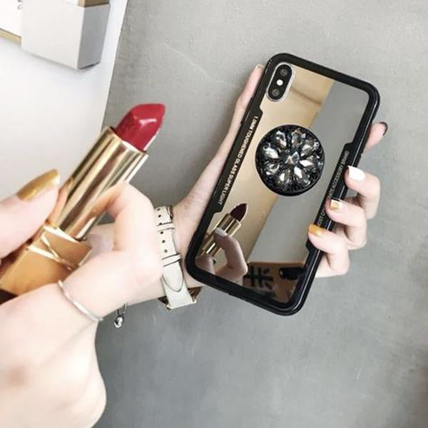 2019 New Fashion Mirror Flash Diamond Airbag Bracket Mobile Phone Case For iPhone