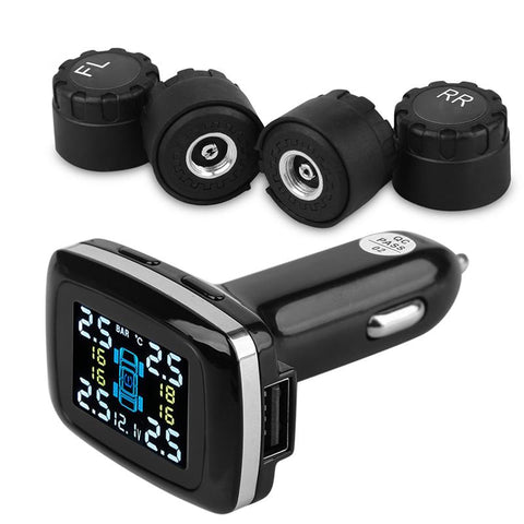 DIY Tire Pressure Monitoring System, Wireless TPMS with 4 External Sensors, Cigarette Lighter Plug LCD Display with Tire Pressure, Temperature Gauge and Battery Voltage(0 to 50.75 Psi)