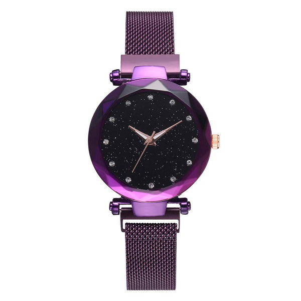 Elegant Ladies Watch,Star Dial Diamond Cut Surface Quartz Mesh Belt Watch Analog Wrist Watch