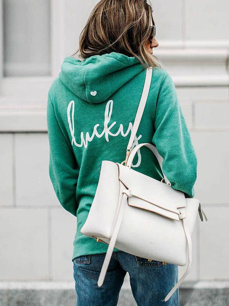 2019 New Lucky You St. Patrick's Day Green Heart Design Zip Hoodies