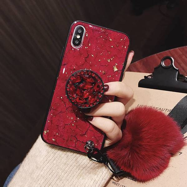 2019 New Fashion hair ball Diamond airbag bracket phone case