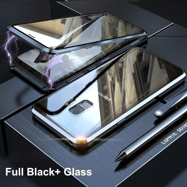 Magnetic Adsorption Transparent Tempered Glass Two side Glass Cover Phone Case For Samsung