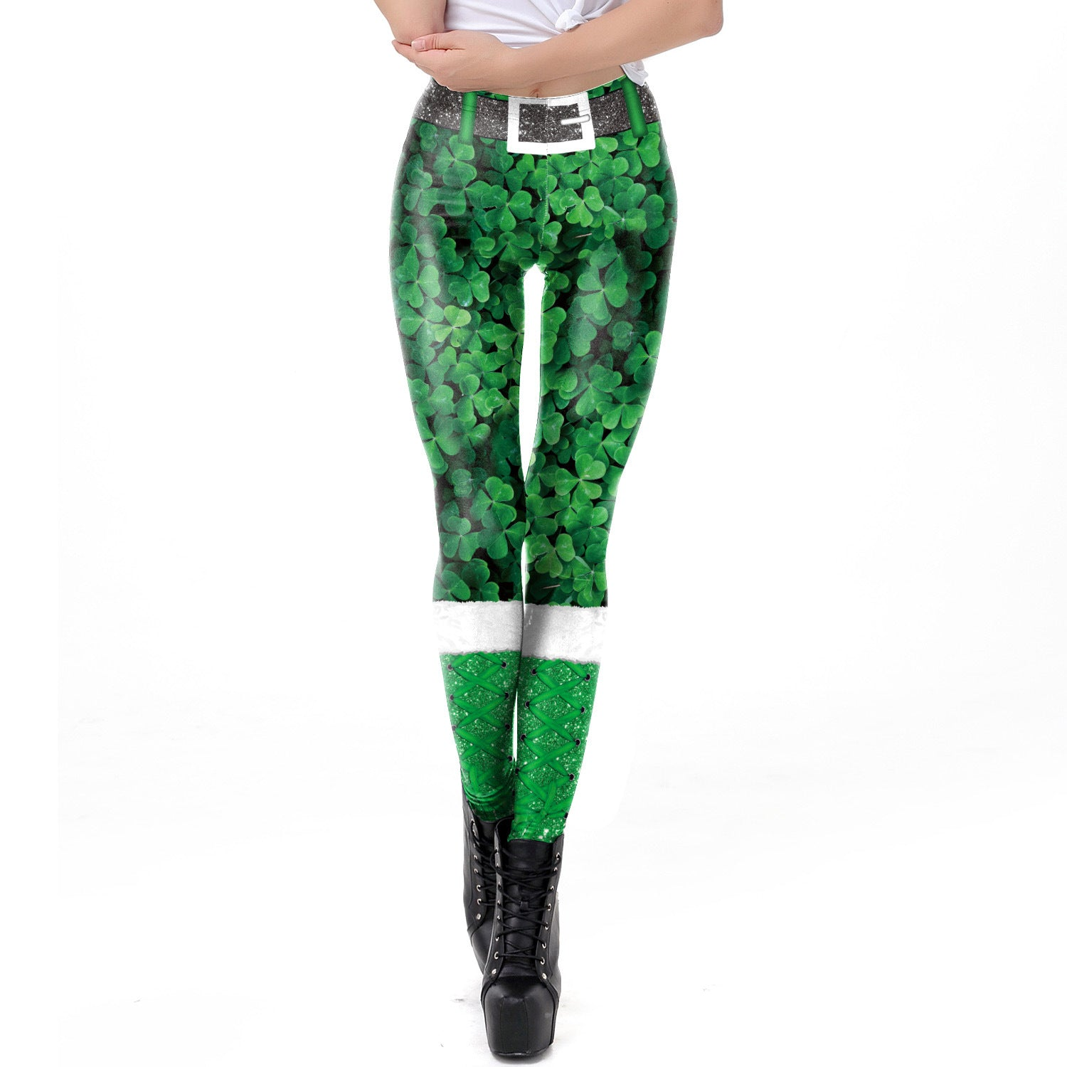 Lucky You St. Patrick's Day  Green Print leggings