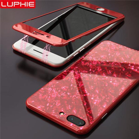Magnetic Shell Pattern Glossy PC Tempered Glass 360 Full Protective Case Cover For iPhone
