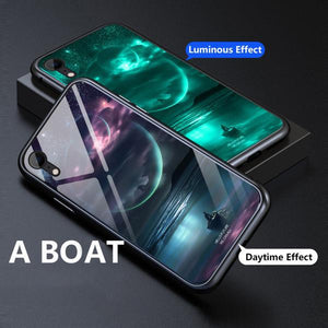 2019 New Fashion Luminous Glass Magnetic Case Luxury Metal Tempered Glass Cover Case For iPhone - oblevs