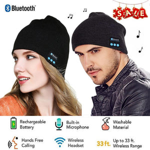 Unisex Bluetooth 4.2 Knit Hat Stereo Headphones and Microphone - oblevs