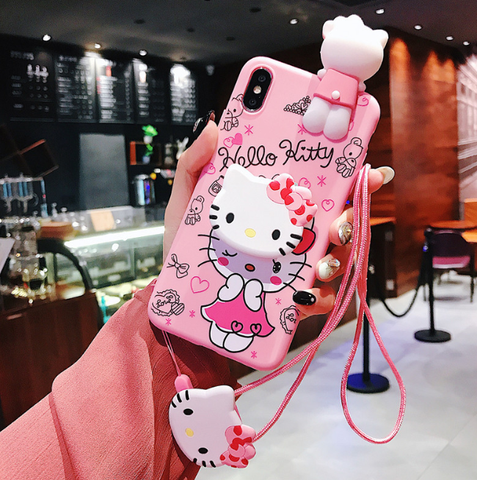 3D Silicone Hellokitty Case with Lanyard and Popsocket for iPhone
