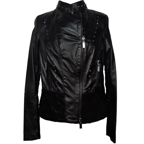 ChiaraD leather and macramé lace jacket.