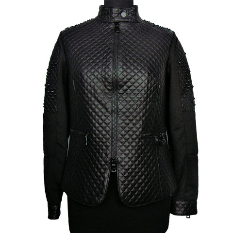 Quilted jacket in leather and ChiaraD scuba