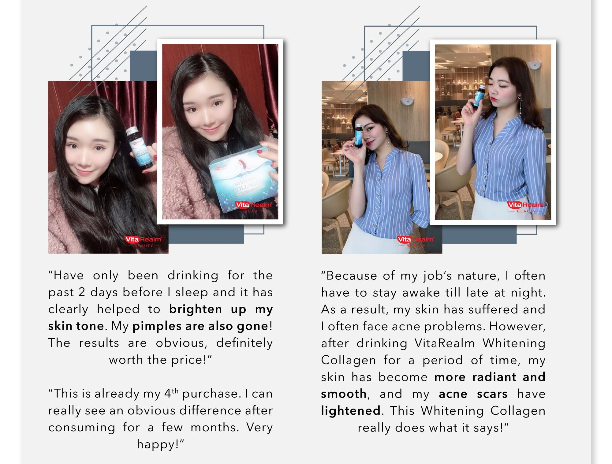 Vitarealm Whitening Collagen is the number 1 skin radiant drink in Singapore