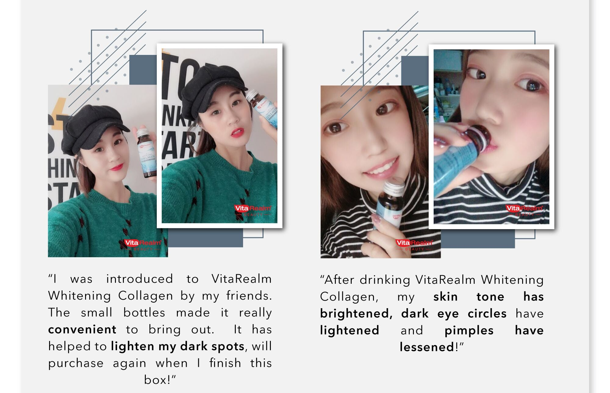 Drink Vitarealm Whitening Collagen and see results in 14 days.