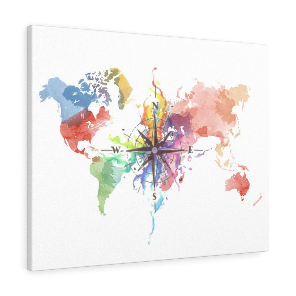 Watercolor World Map Graphic Art on Wrapped Canvas art print