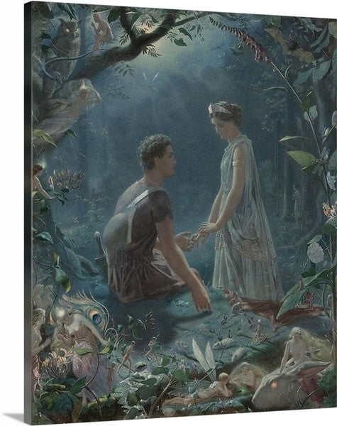 A Midsummer Night's Dream by Simmons-Hermia and Lysander, A Midsummer Night's Dream, Simmons-Hermia and Lysander, Classic Art, Canvas Art Print