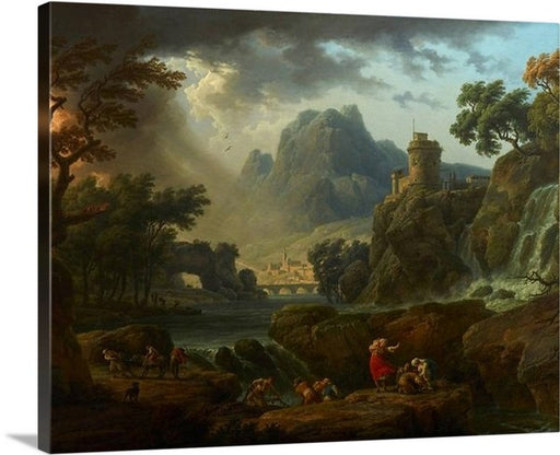 A Mountain Landscape with an Approaching Storm by Claude Joseph Vernet Canvas Art Print