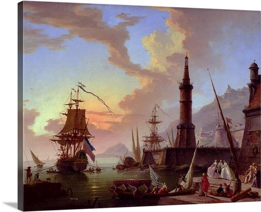A Seaport by Claude Joseph Vernet, A Seaport, Claude Joseph Vernet, Classic Art, Canvas Art Print