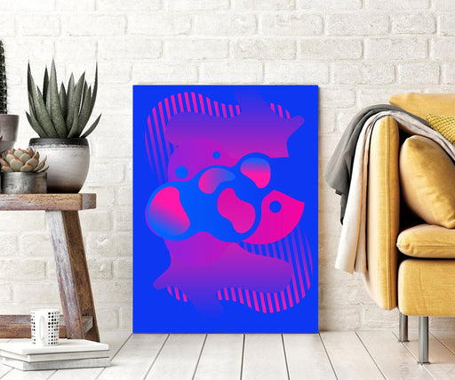 Blue Magenta Abstract Wall Art Canvas Print or Framed Art