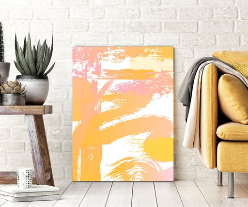 Pink Yellow Abstract Wall Art Canvas Print or Framed Art