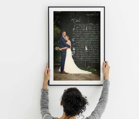 Personalized wedding anniversary gift framed wall art with song lyric or vows for home wall decor framed