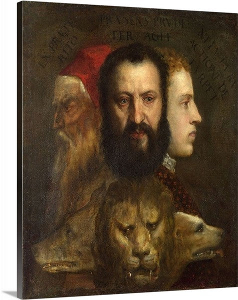 Allegory of Prudence by Titian Classic Art Canvas Print